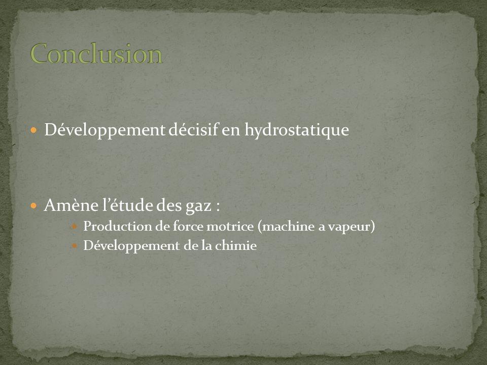 Conclusion Développement décisif en hydrostatique