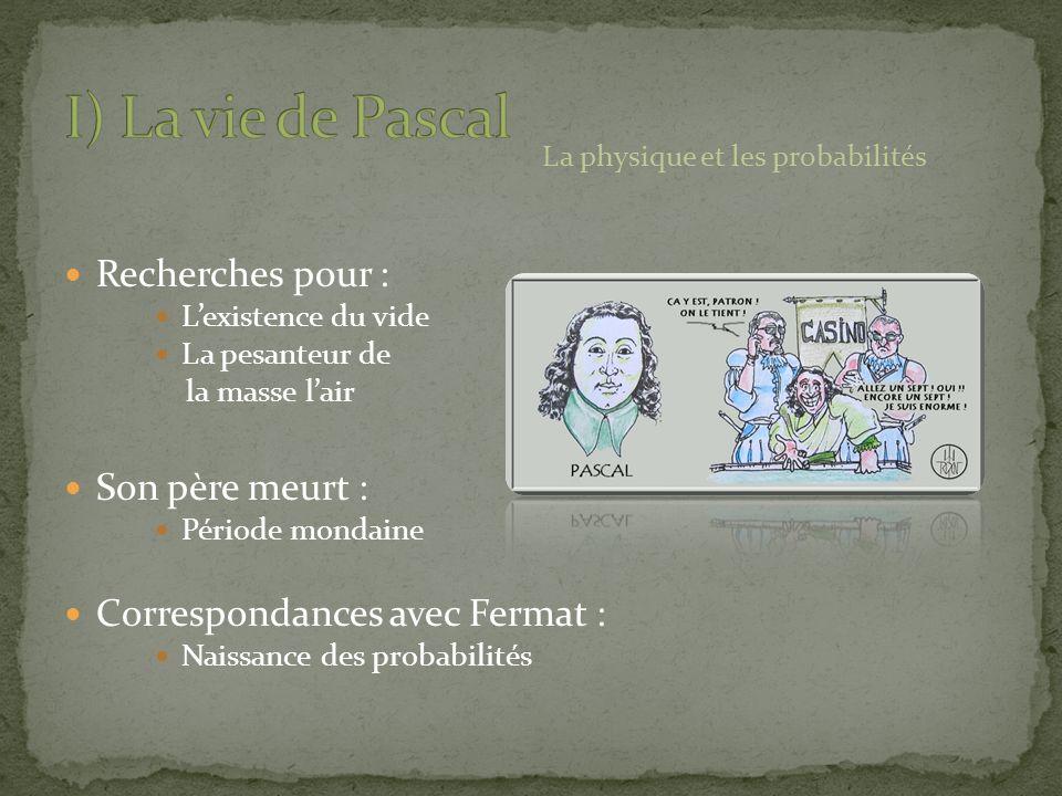 I) La vie de Pascal Recherches pour : Son père meurt :