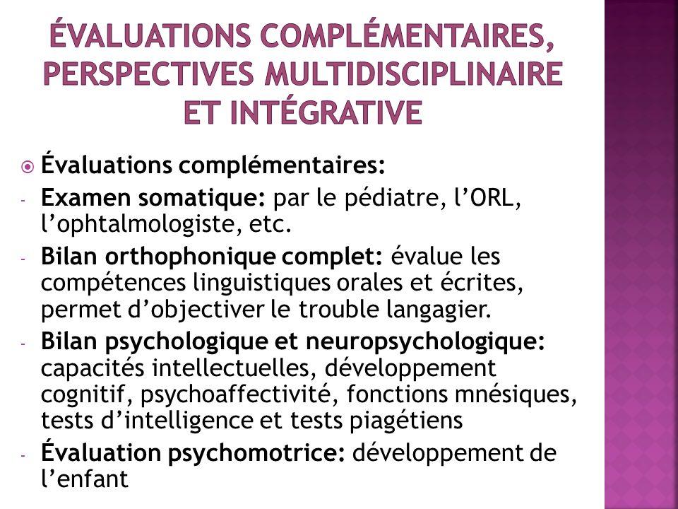 Évaluations complémentaires, perspectives multidisciplinaire et intégrative
