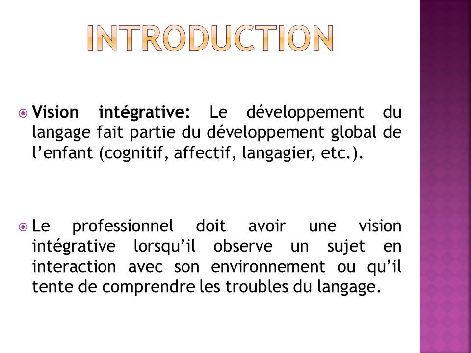 Introduction Vision intégrative: Le développement du langage fait partie du développement global de l'enfant (cognitif, affectif, langagier, etc.).