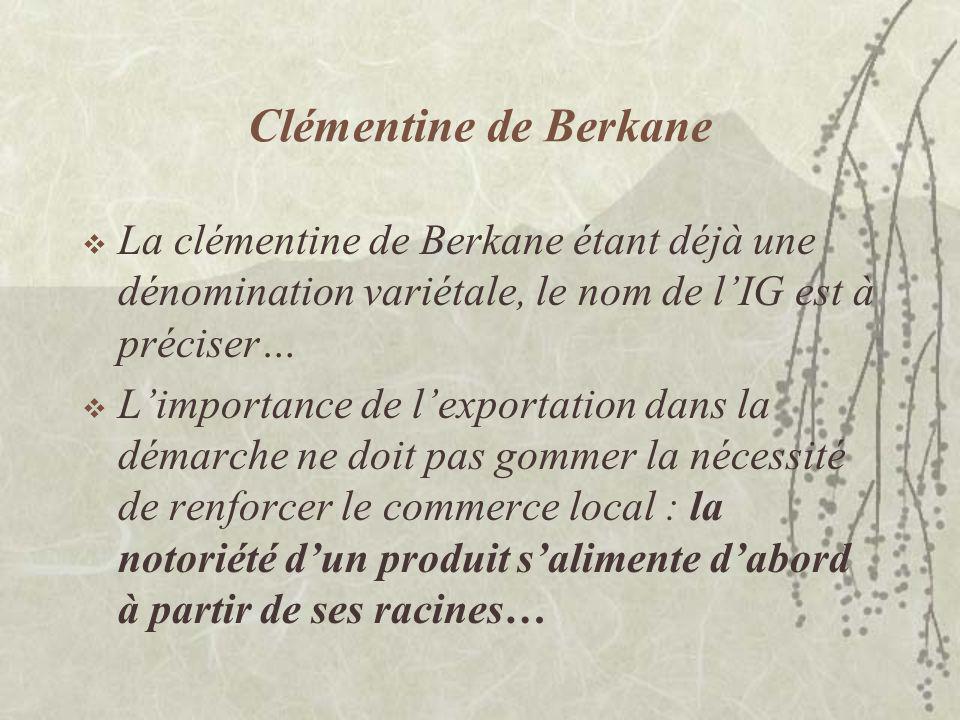 Clémentine de Berkane La clémentine de Berkane étant déjà une dénomination variétale, le nom de l'IG est à préciser…