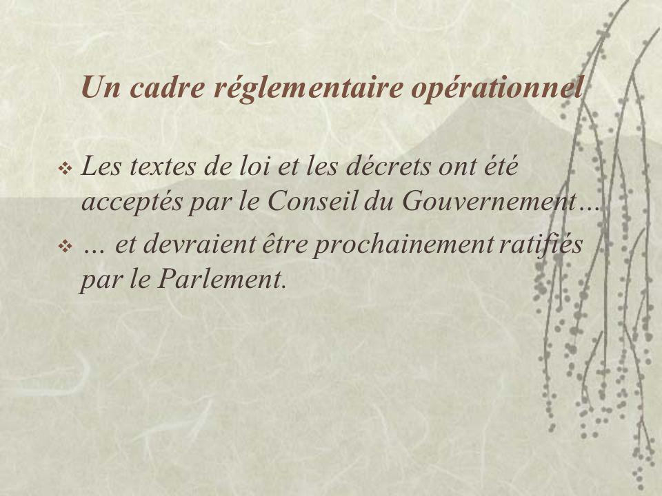 Un cadre réglementaire opérationnel