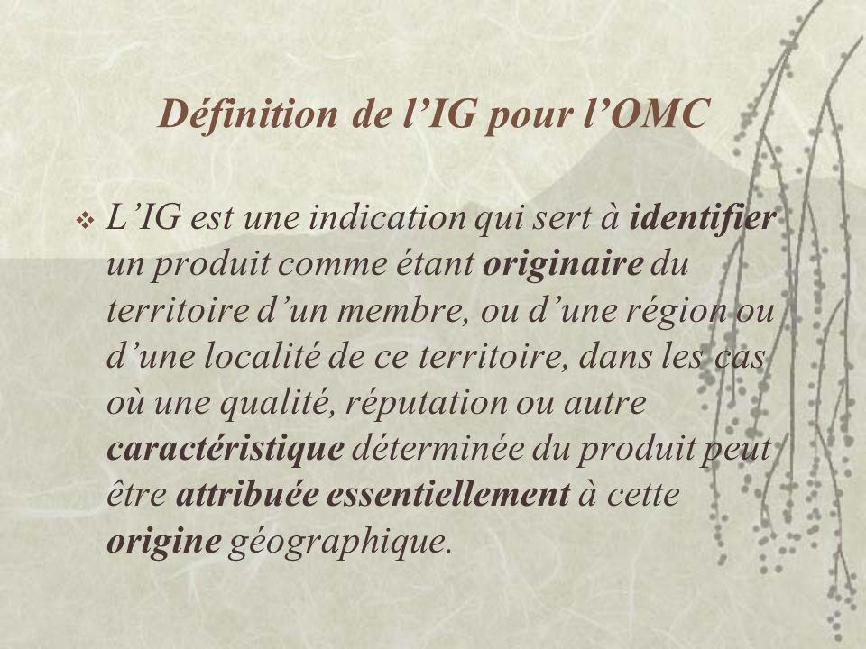 Définition de l'IG pour l'OMC