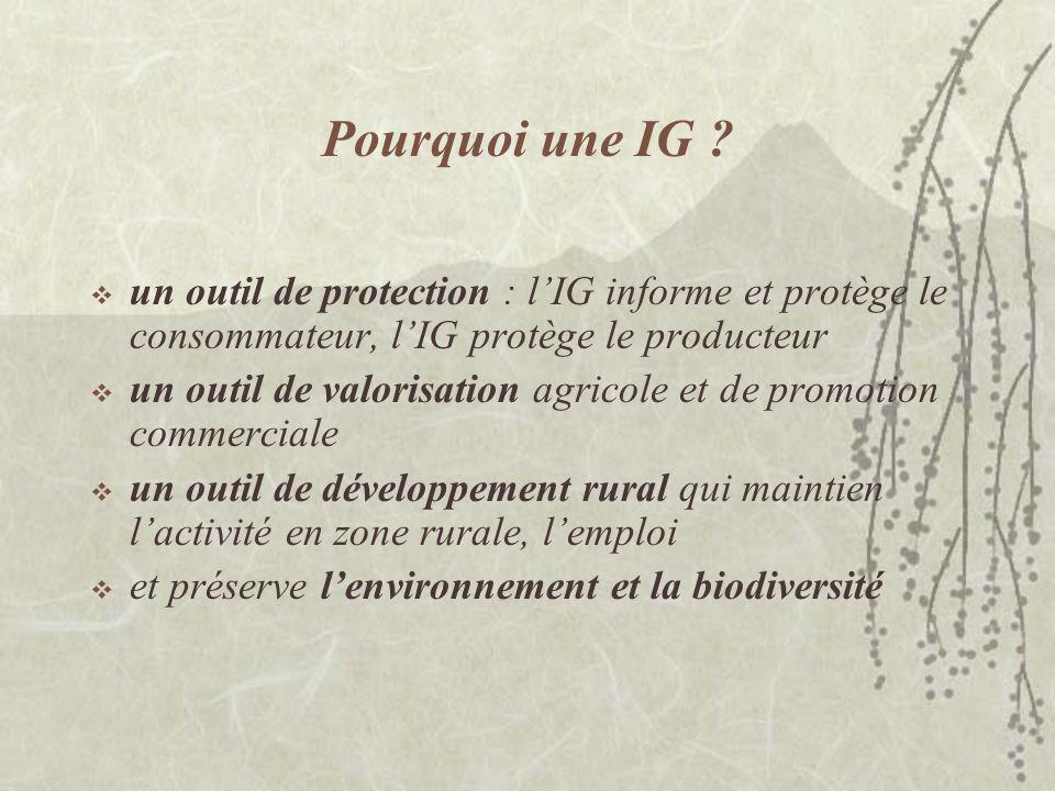 Pourquoi une IG un outil de protection : l'IG informe et protège le consommateur, l'IG protège le producteur.