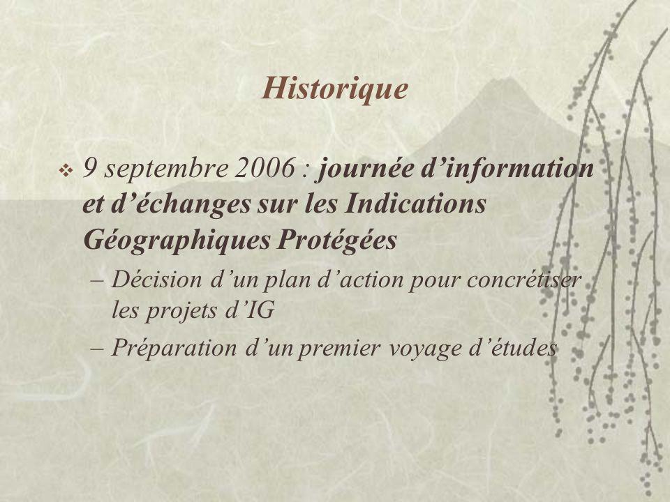 Historique 9 septembre 2006 : journée d'information et d'échanges sur les Indications Géographiques Protégées.