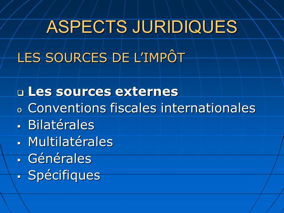 ASPECTS JURIDIQUES LES SOURCES DE L'IMPÔT Les sources externes