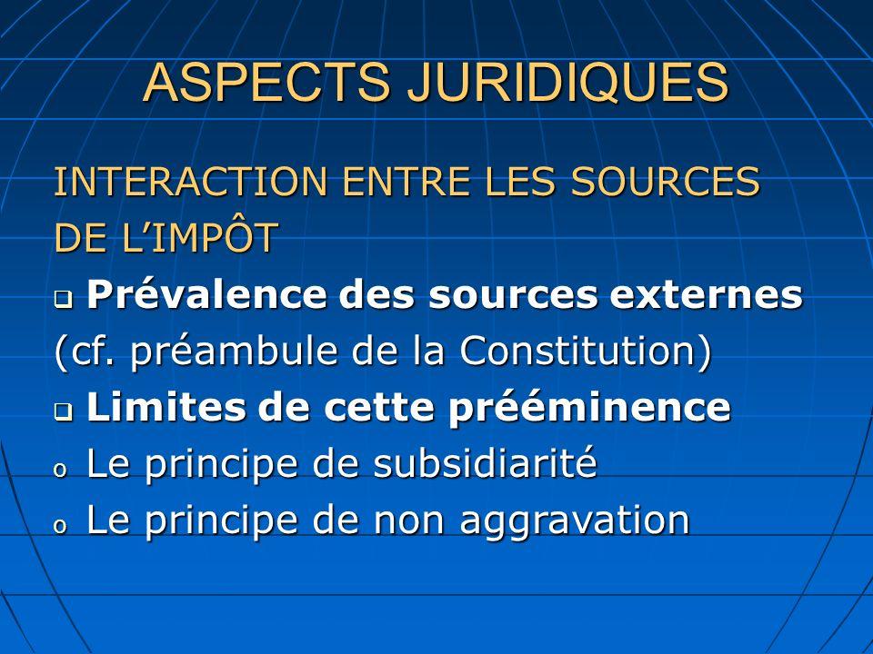 ASPECTS JURIDIQUES INTERACTION ENTRE LES SOURCES DE L'IMPÔT