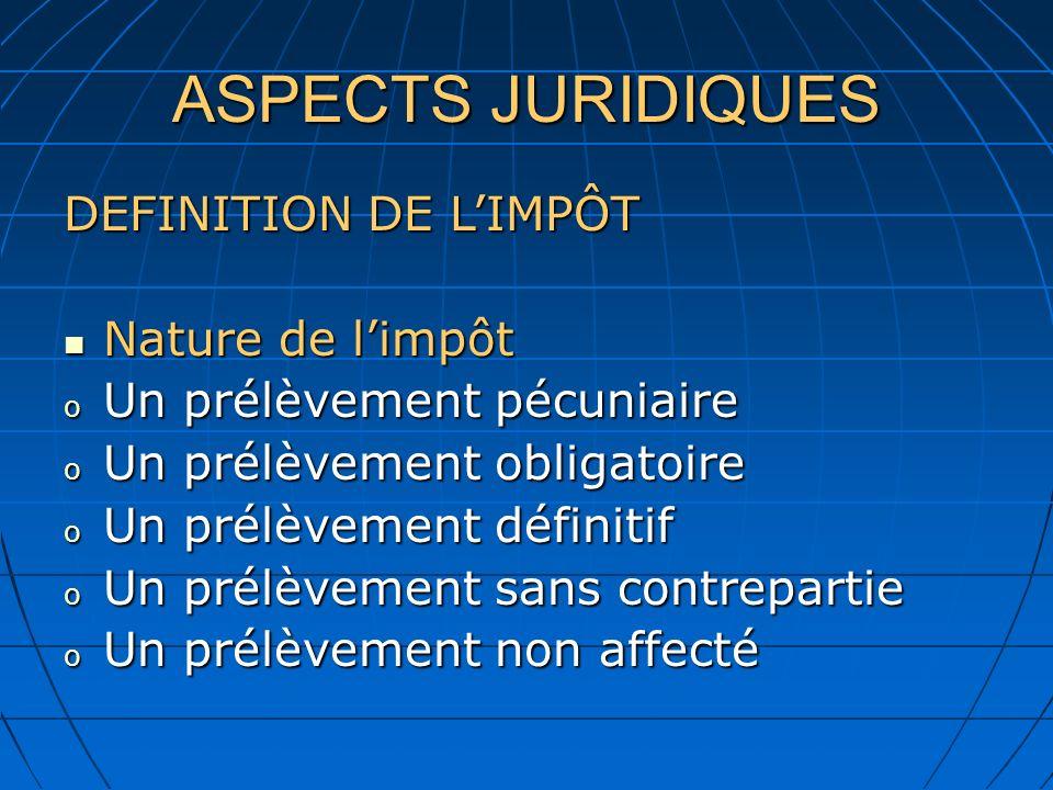ASPECTS JURIDIQUES DEFINITION DE L'IMPÔT Nature de l'impôt
