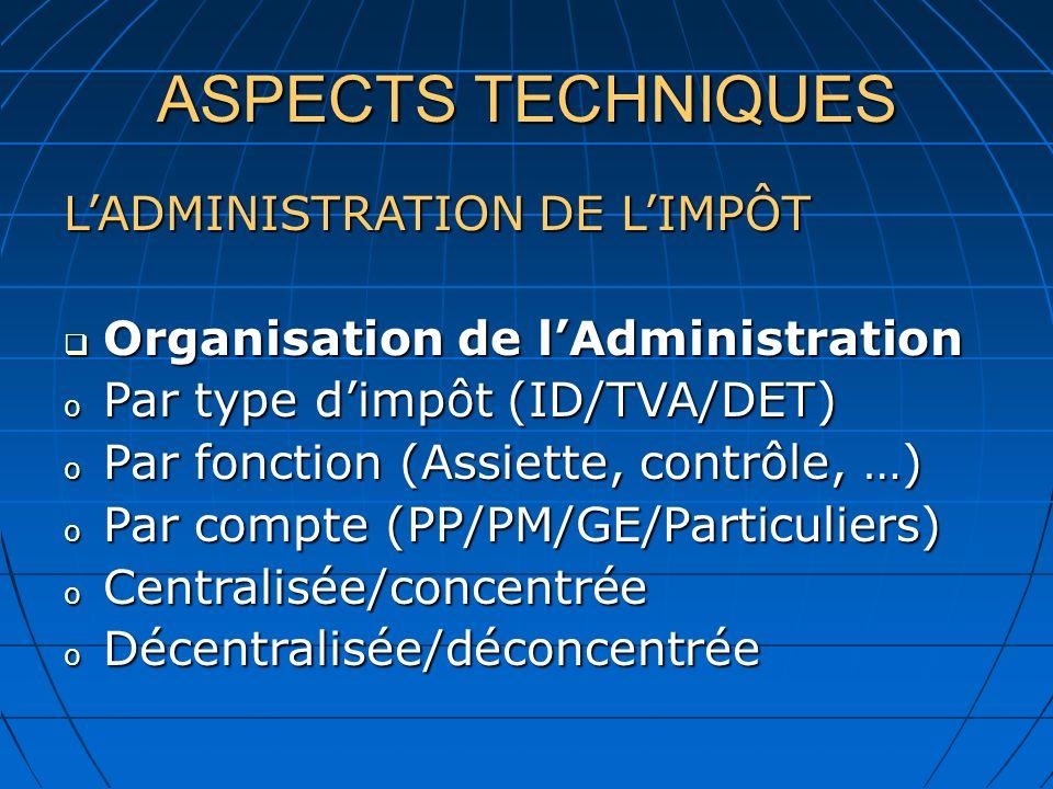 ASPECTS TECHNIQUES L'ADMINISTRATION DE L'IMPÔT
