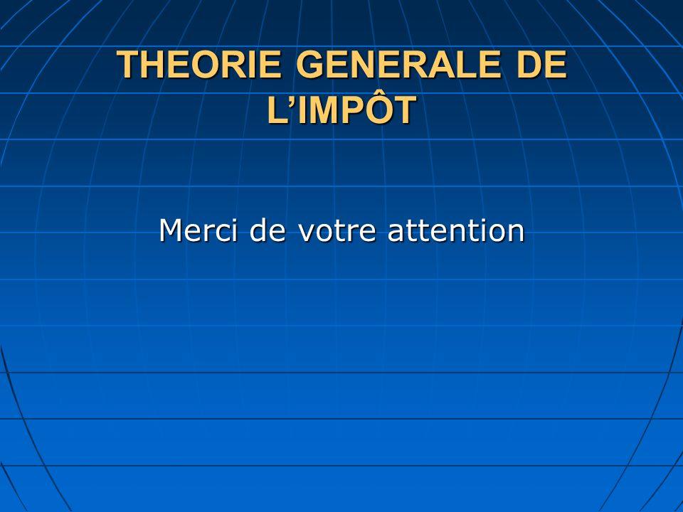 THEORIE GENERALE DE L'IMPÔT