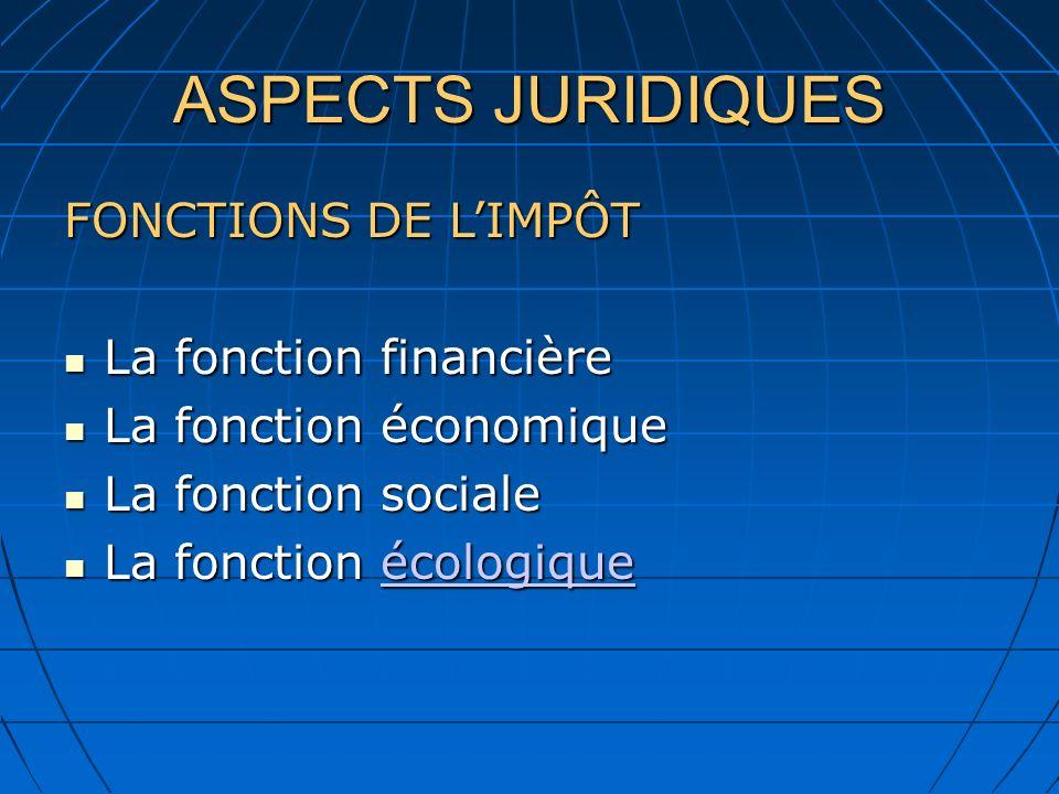 ASPECTS JURIDIQUES FONCTIONS DE L'IMPÔT La fonction financière