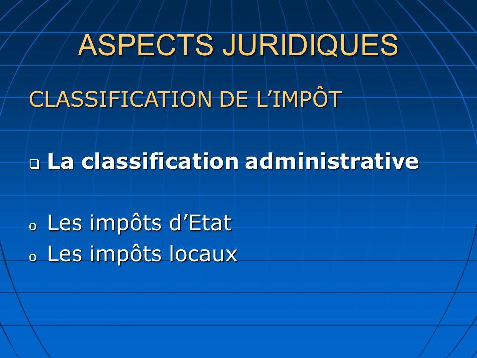 ASPECTS JURIDIQUES CLASSIFICATION DE L'IMPÔT