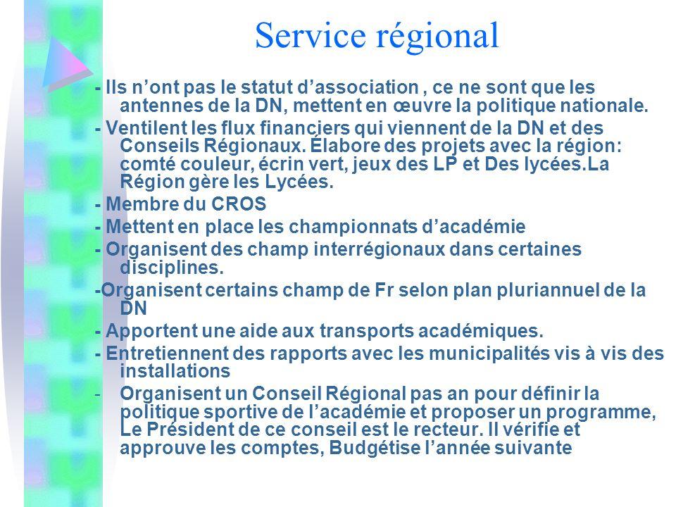 Service régional - Ils n'ont pas le statut d'association , ce ne sont que les antennes de la DN, mettent en œuvre la politique nationale.