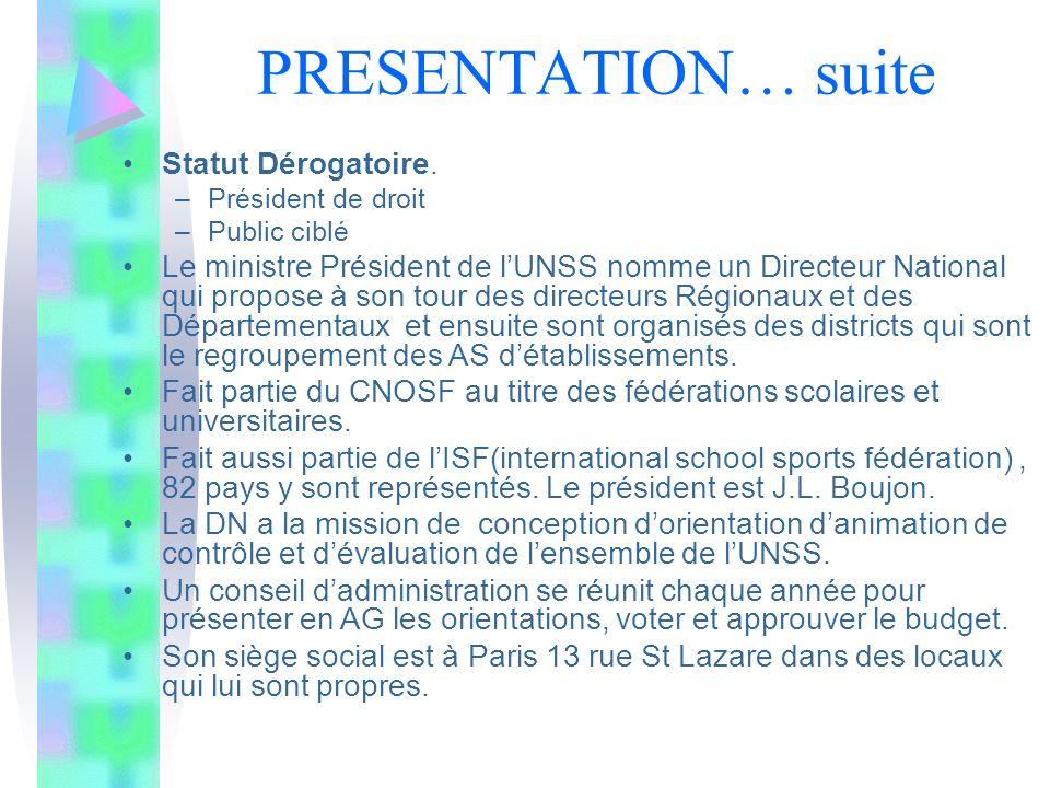 PRESENTATION… suite Statut Dérogatoire.