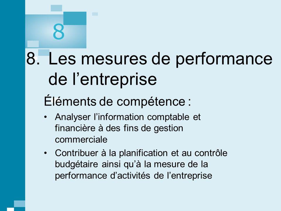 8. Les mesures de performance de l'entreprise