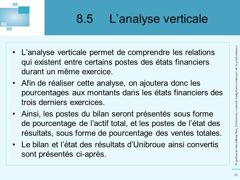 8.5 L'analyse verticale