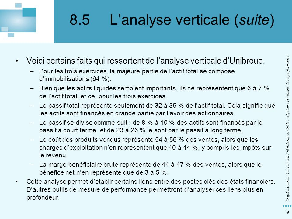 8.5 L'analyse verticale (suite)