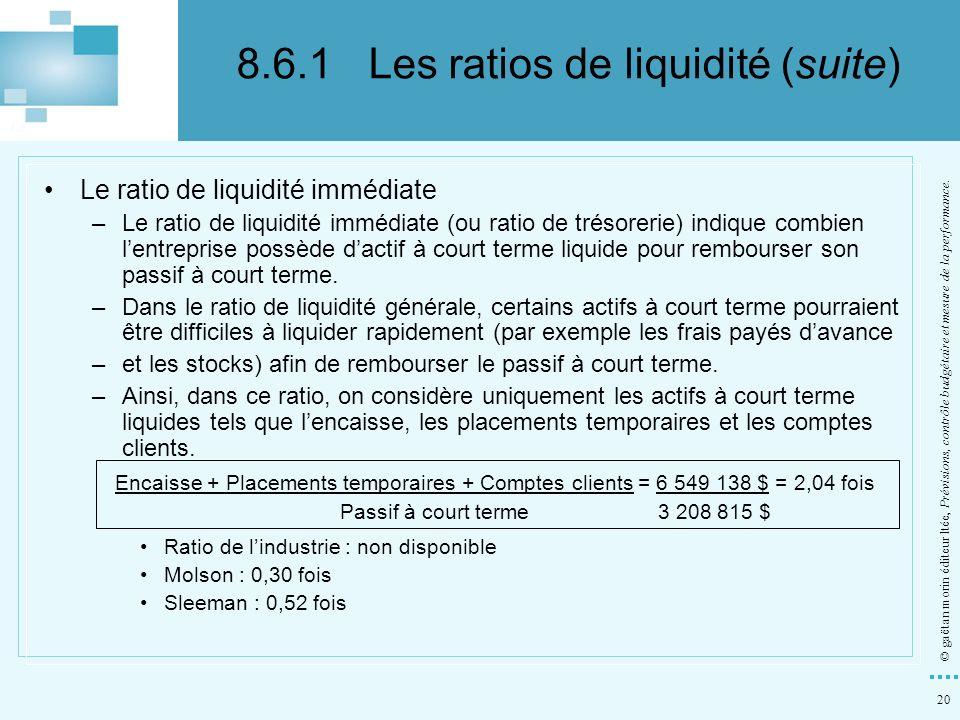 8.6.1 Les ratios de liquidité (suite)