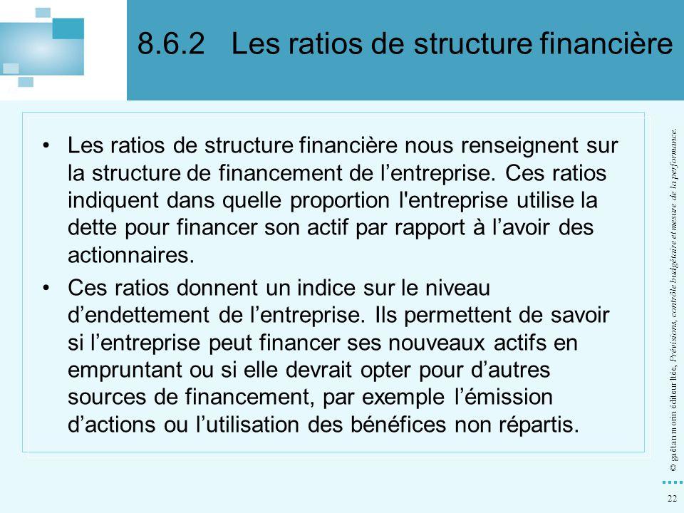 8.6.2 Les ratios de structure financière