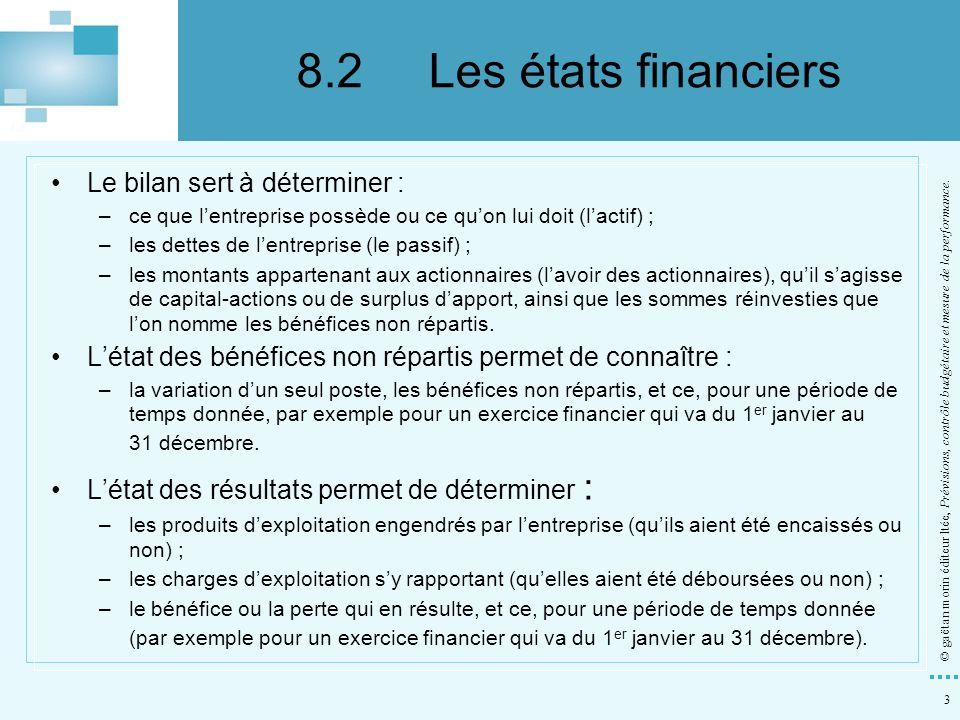 8.2 Les états financiers Le bilan sert à déterminer :