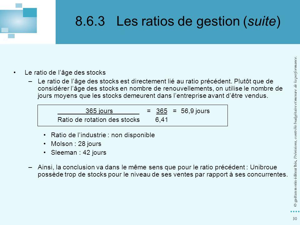 8.6.3 Les ratios de gestion (suite)