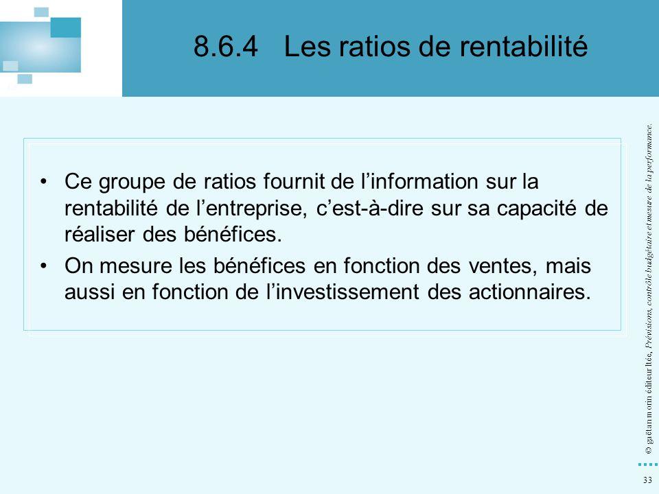 8.6.4 Les ratios de rentabilité