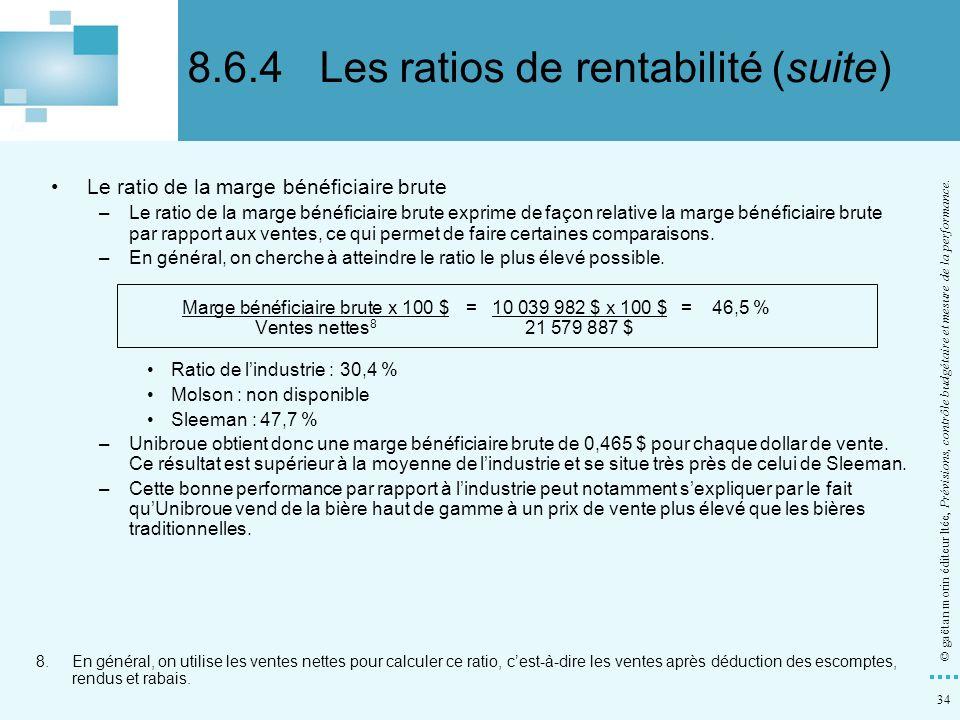 8.6.4 Les ratios de rentabilité (suite)