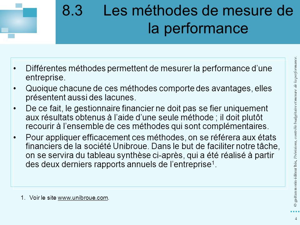 8.3 Les méthodes de mesure de la performance