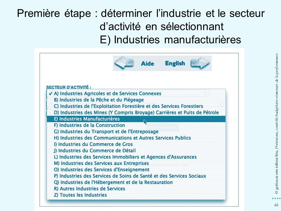 Première étape : déterminer l'industrie et le secteur d'activité en sélectionnant E) Industries manufacturières