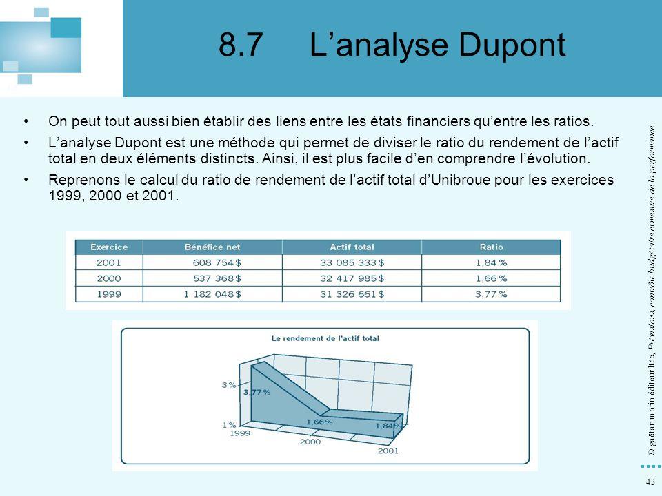 8.7 L'analyse Dupont On peut tout aussi bien établir des liens entre les états financiers qu'entre les ratios.