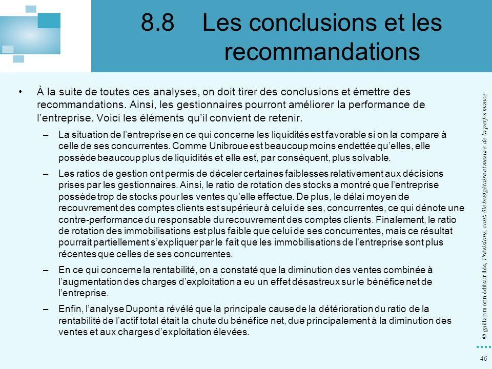 8.8 Les conclusions et les recommandations
