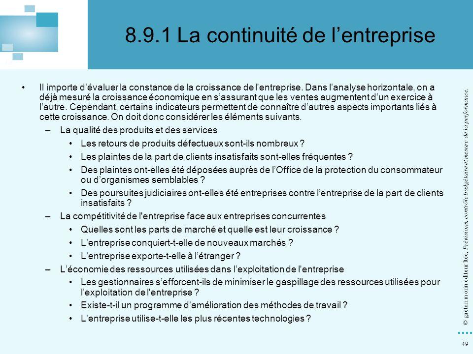 8.9.1 La continuité de l'entreprise