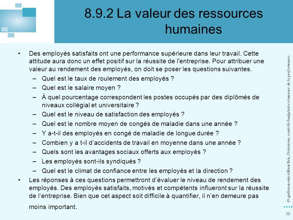 8.9.2 La valeur des ressources humaines