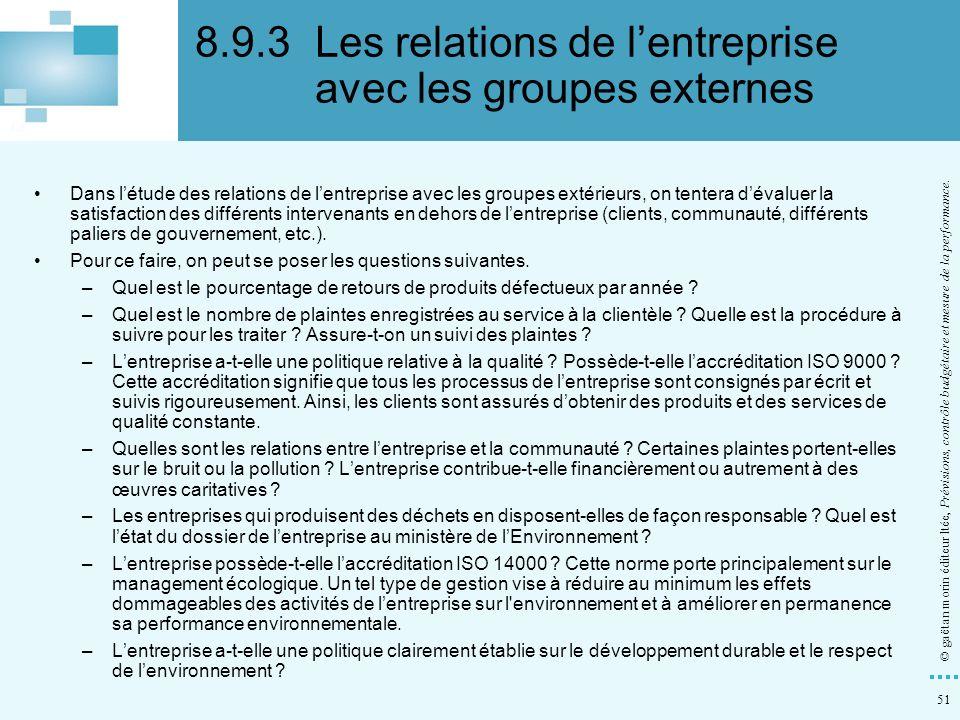 8.9.3 Les relations de l'entreprise avec les groupes externes