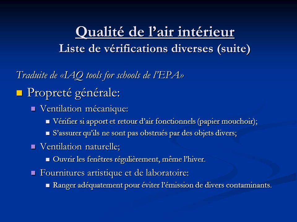 Qualité de l'air intérieur Liste de vérifications diverses (suite)