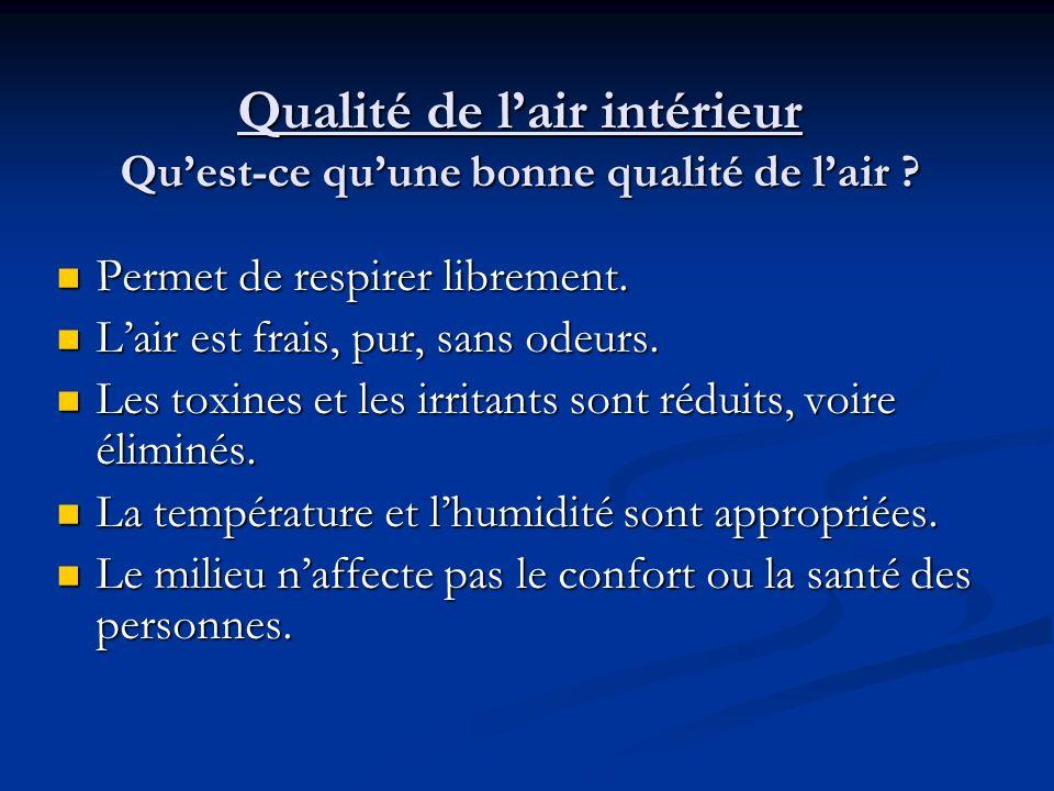 Qualité de l'air intérieur Qu'est-ce qu'une bonne qualité de l'air