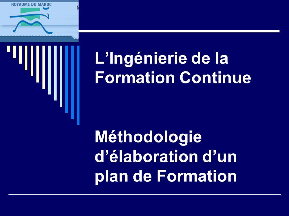 L'Ingénierie de la Formation Continue Méthodologie d'élaboration d'un plan de Formation