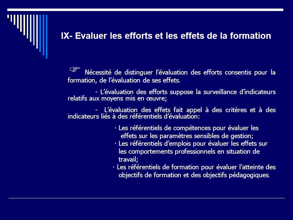 IX- Evaluer les efforts et les effets de la formation