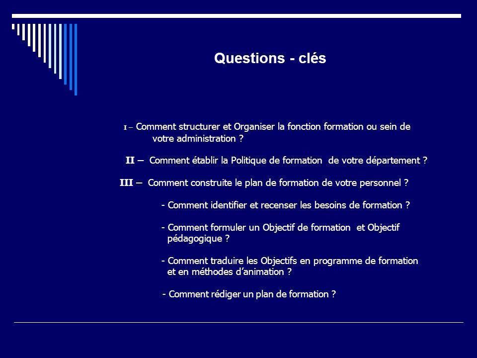 Questions - clés votre administration