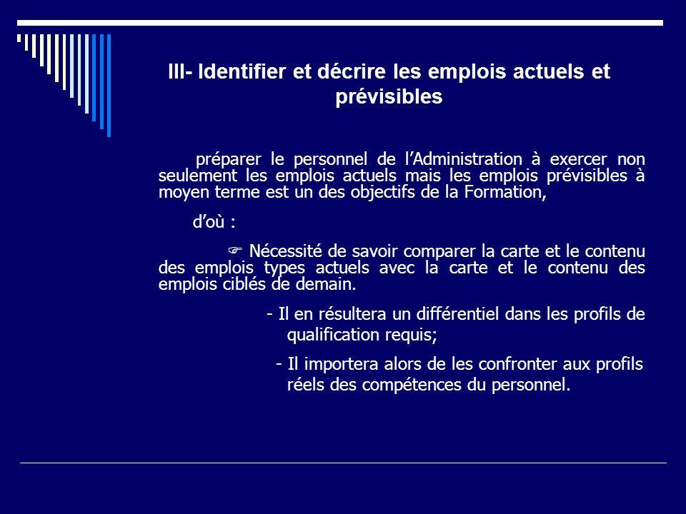 III- Identifier et décrire les emplois actuels et prévisibles
