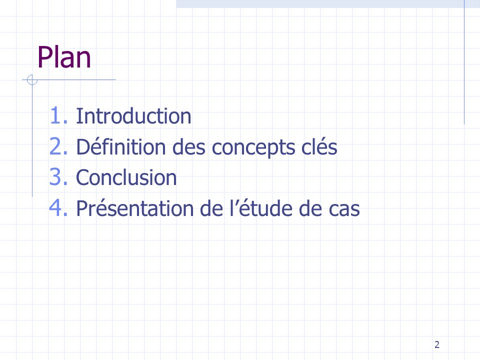 Plan Introduction Définition des concepts clés Conclusion