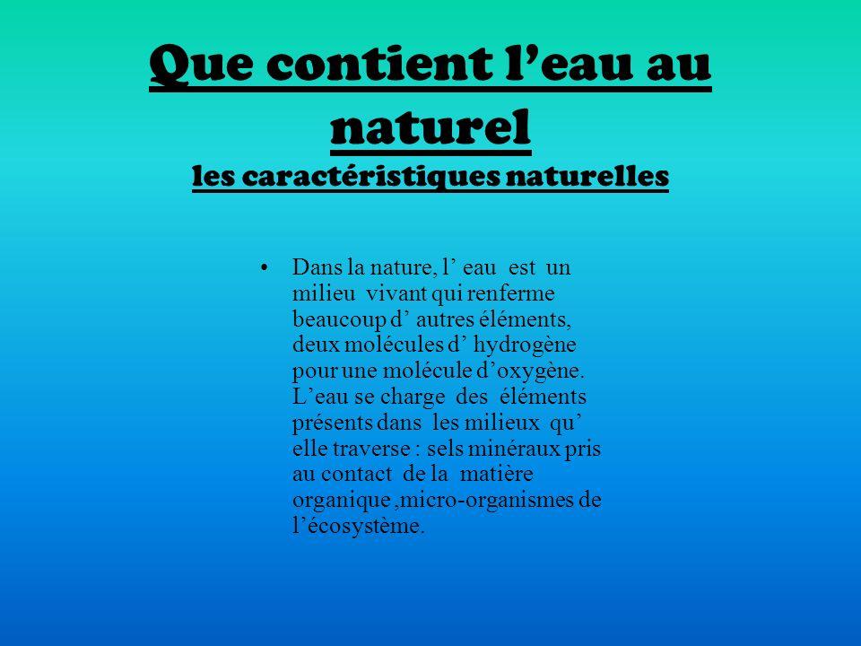 Que contient l'eau au naturel les caractéristiques naturelles