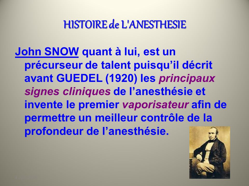 HISTOIRE de L ANESTHESIE