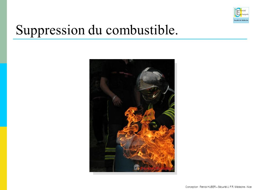 Suppression du combustible.