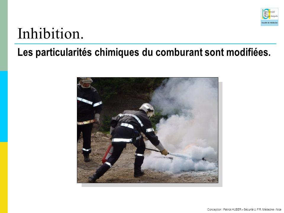 Inhibition. Les particularités chimiques du comburant sont modifiées.
