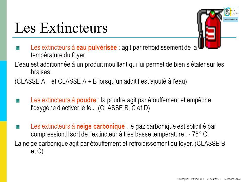 Les Extincteurs Les extincteurs à eau pulvérisée : agit par refroidissement de la température du foyer.