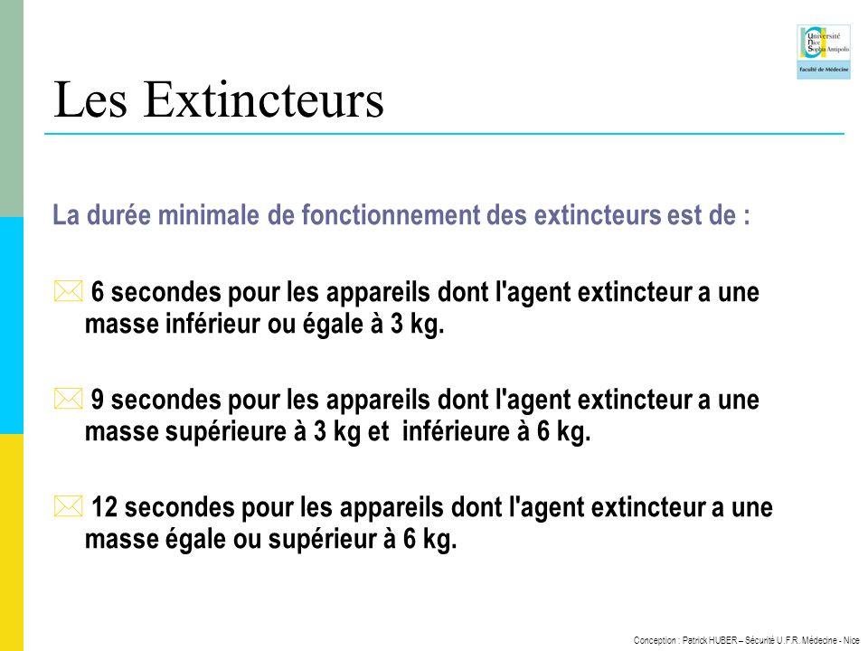 Les Extincteurs La durée minimale de fonctionnement des extincteurs est de :