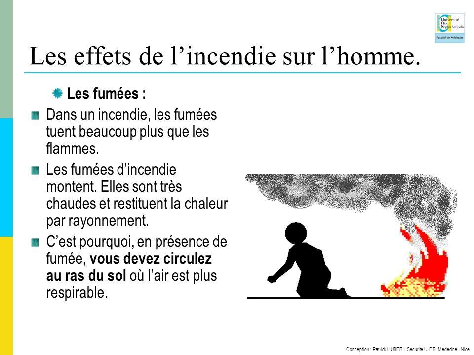 Les effets de l'incendie sur l'homme.
