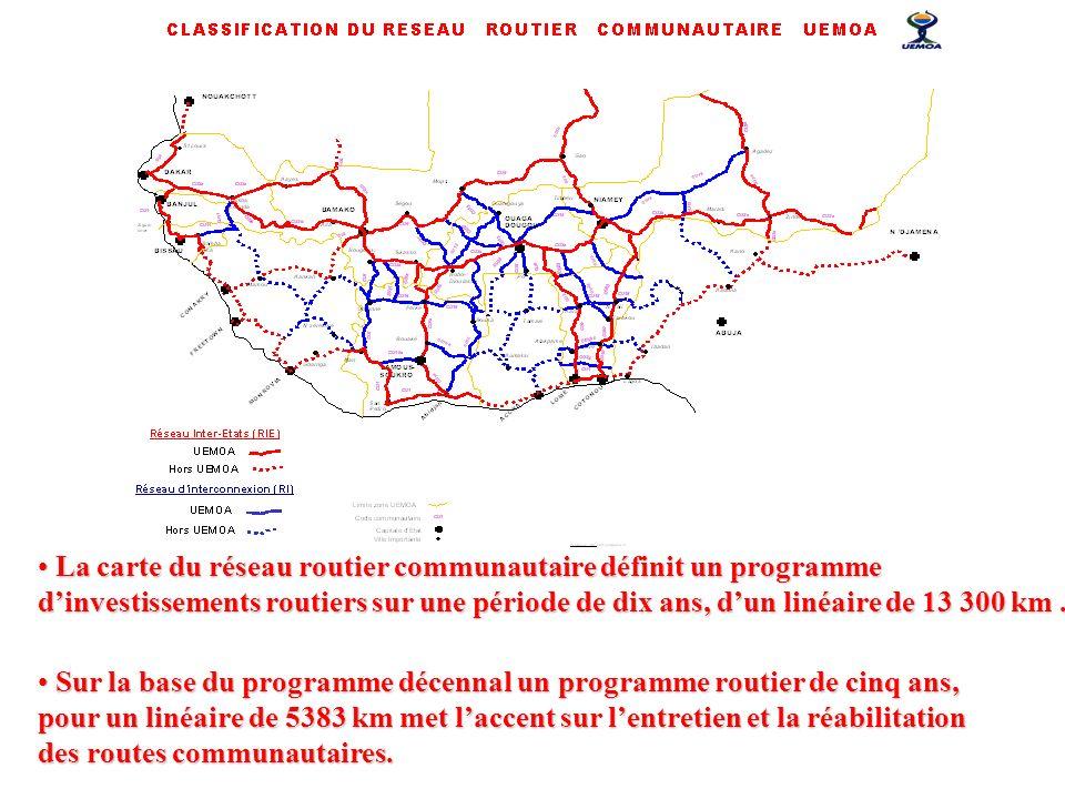 La carte du réseau routier communautaire définit un programme d'investissements routiers sur une période de dix ans, d'un linéaire de 13 300 km .