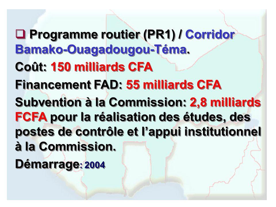 Programme routier (PR1) / Corridor Bamako-Ouagadougou-Téma.